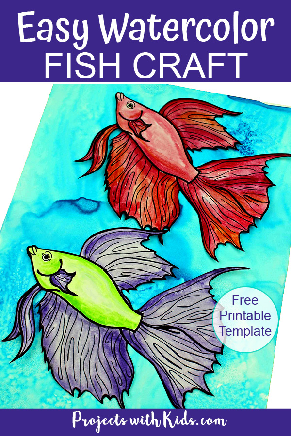 Watercolor fish craft with free printable template Pinterest image