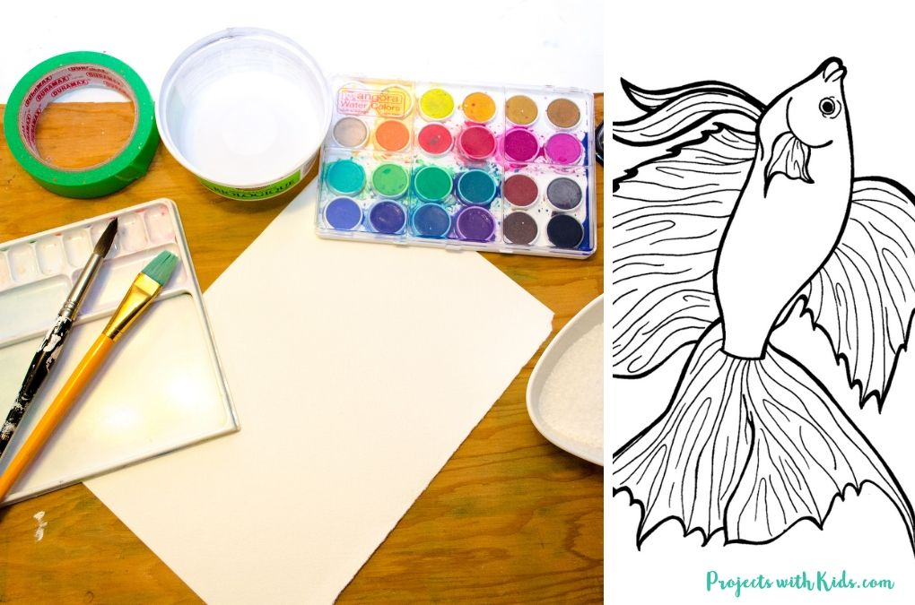 Supplies needed to make a watercolor fish craft