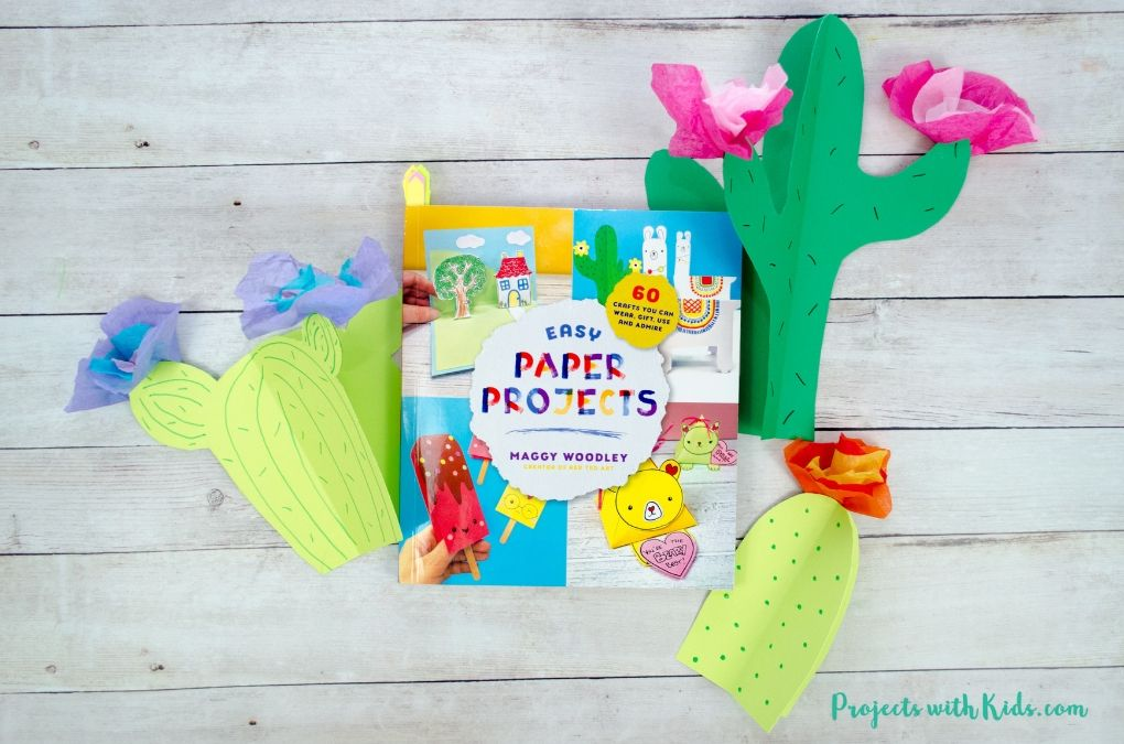 Easy Paper Projects book with 3D paper cactus craft.