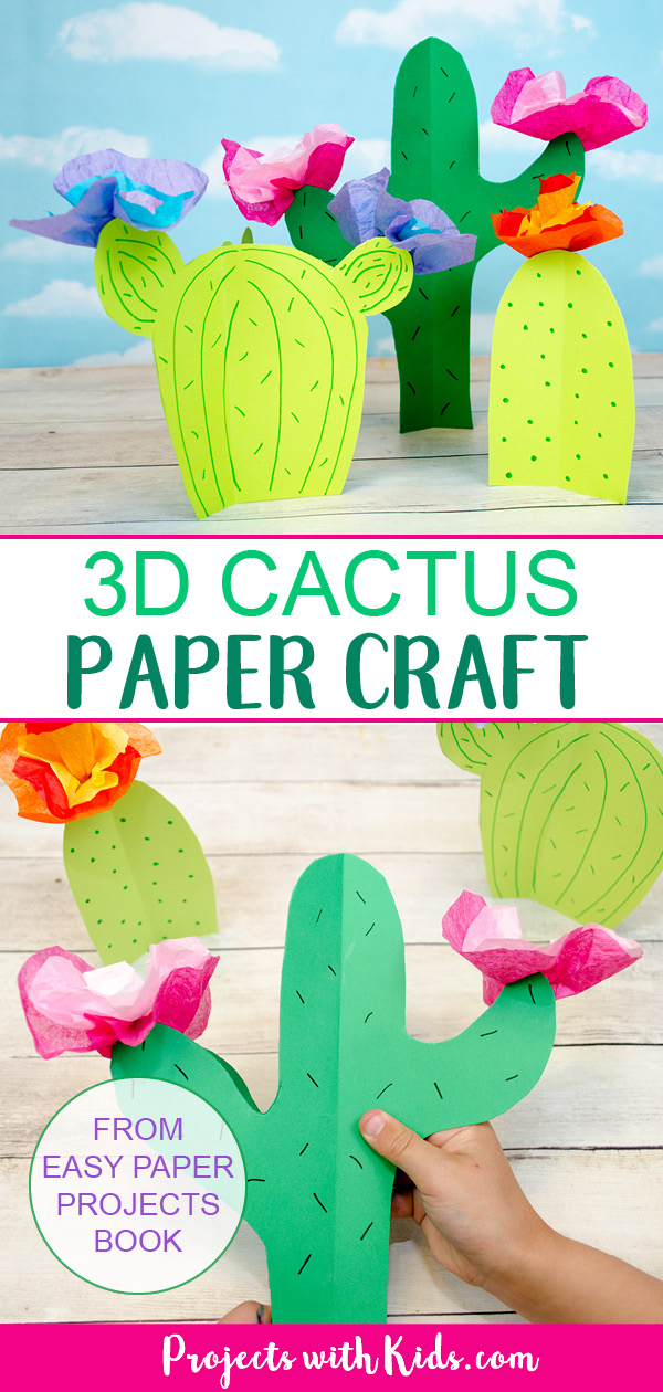 Paper cactus Pinterest image