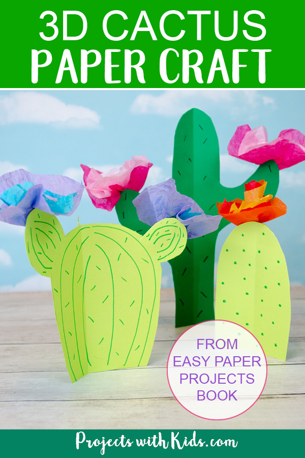 Paper 3D cactus with tissue paper flowers.