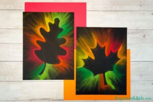 2 chalk pastel fall leaf drawings