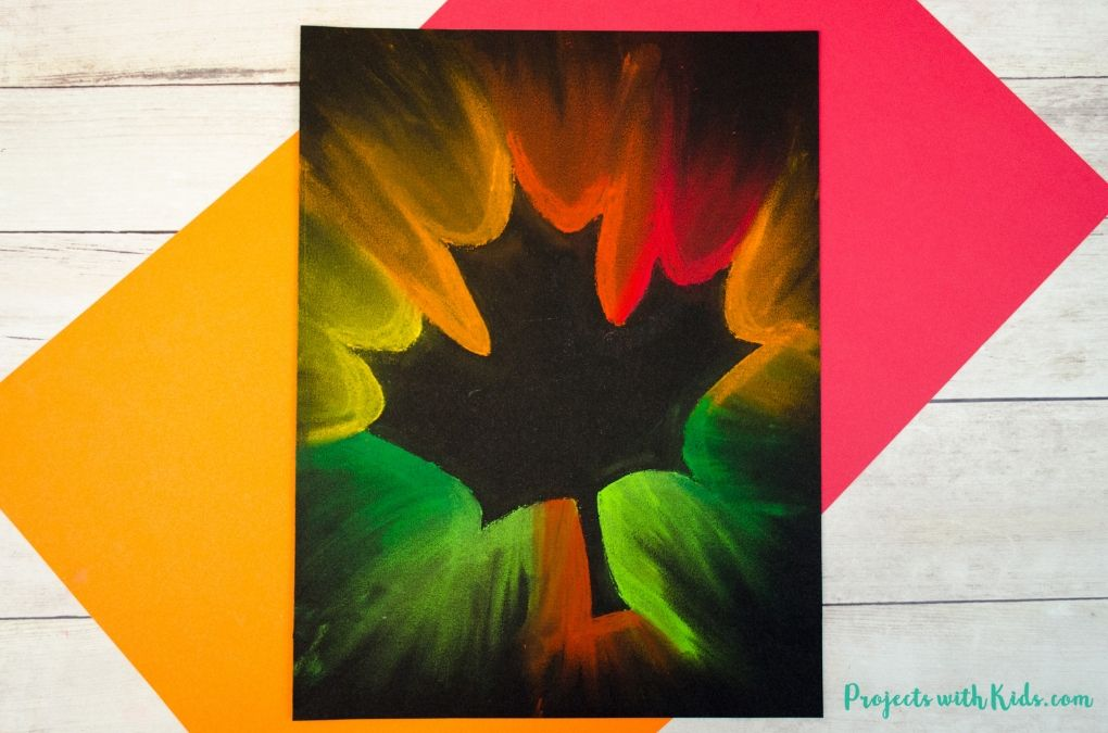 Chalk pastel fall leaf art