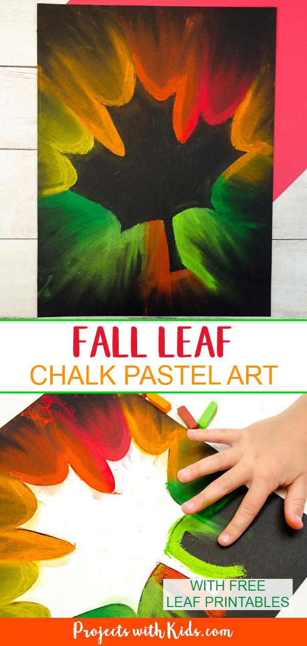 Fall leaf chalk pastel art, smudging chalk pastels-Pinterest image