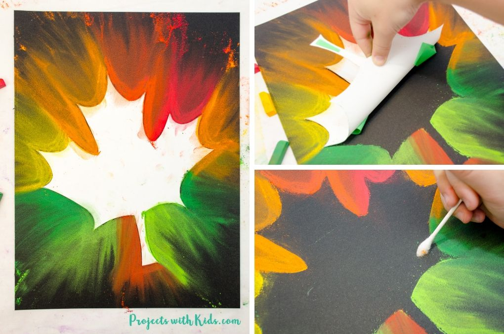 Chalk pastel fall leaf art.