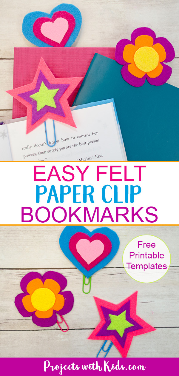 3 Felt paper clip bookmarks - heart, star and flower Pinterest image.