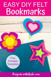 3 felt bookmarks - star, heart and flower Pinterest image2