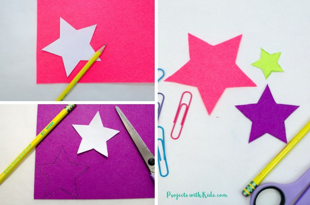 Star shapes cut out of pink and purple felt