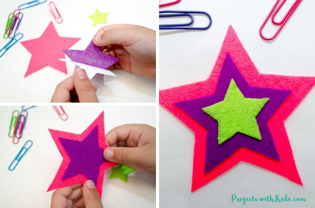 Sticking smaller felt star shapes onto a larger felt star shape to make a bookmark.