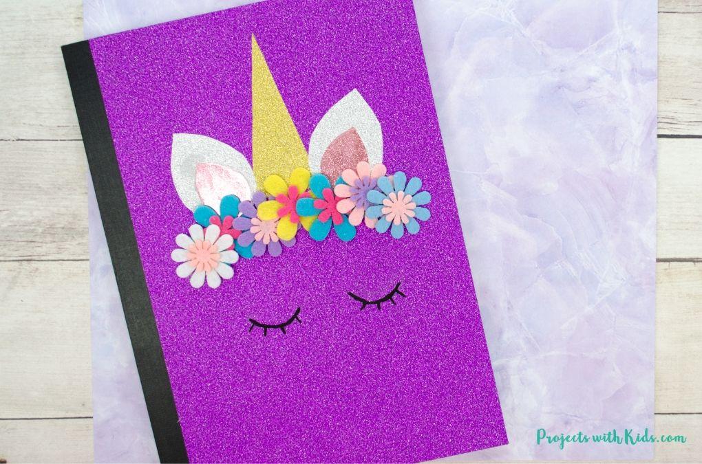 Purple gitter DIY unicorn notebook