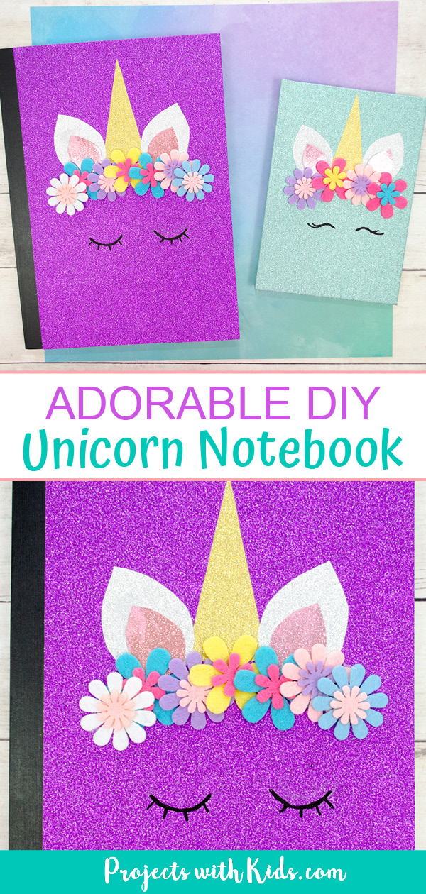 DIY unicorn notebooks, 1 purple notebook and 1 blue both with glitter paper and felt flowers.
