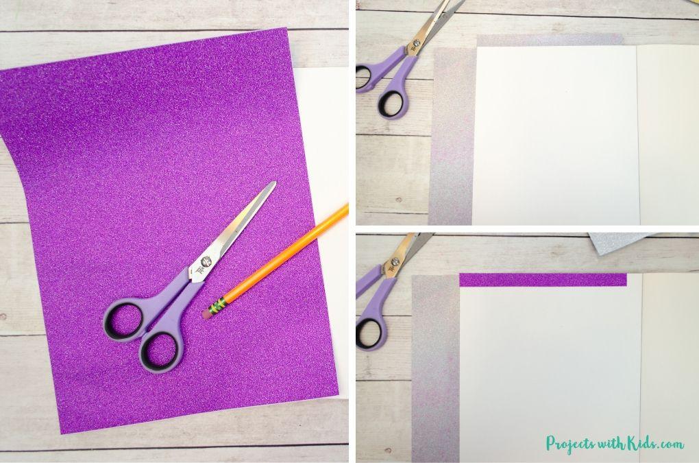 Gluing purple glitter paper to a notebook.