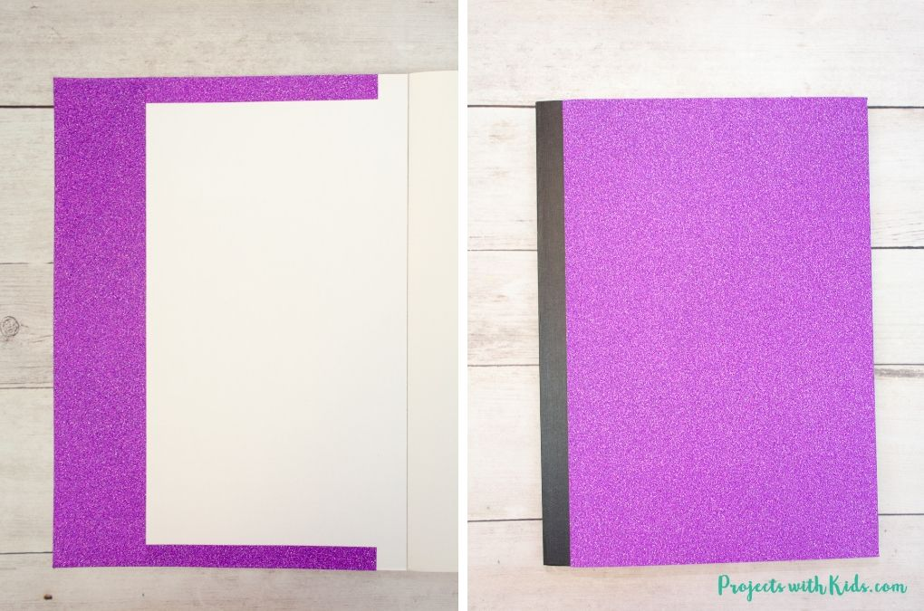 Covering a notebook with glitter purple paper.