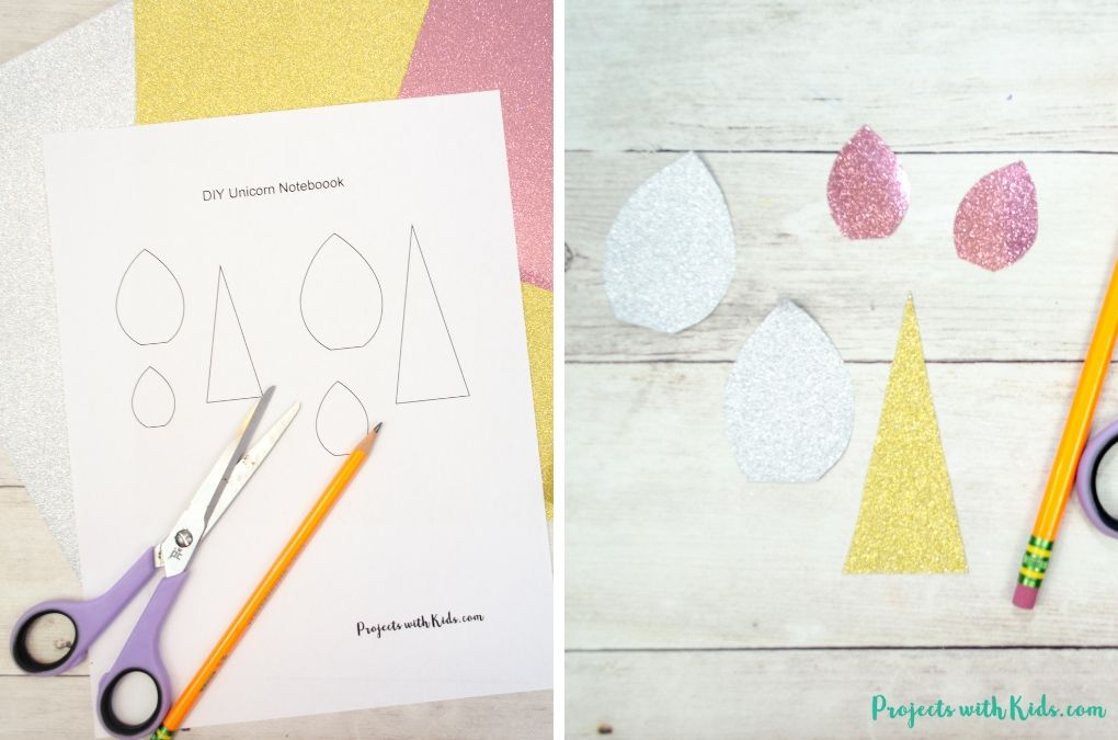 Printable template and cut out shapes for unicorn notebook cover craft
