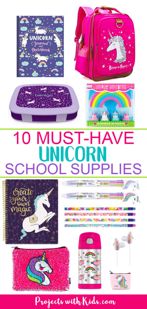 Unicorn school supplies Pinterest image