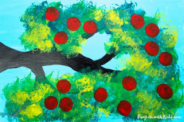Apple tree painting with cotton balls feature image