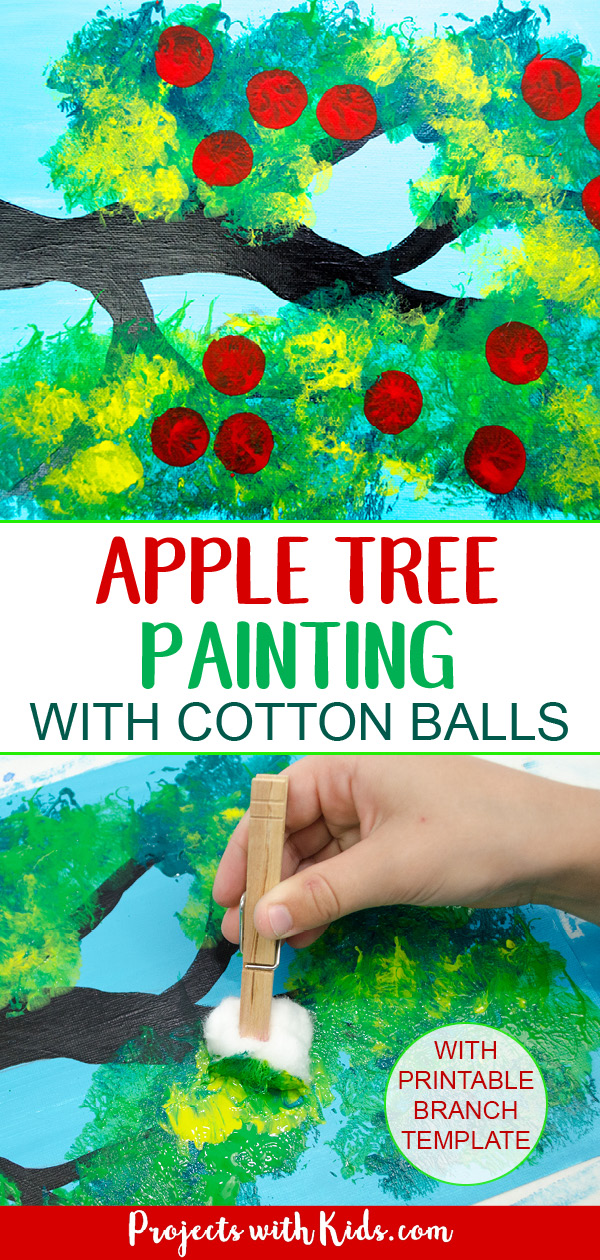 Apple tree painting fall craft idea, hand painting green leaves with a cotton ball.
