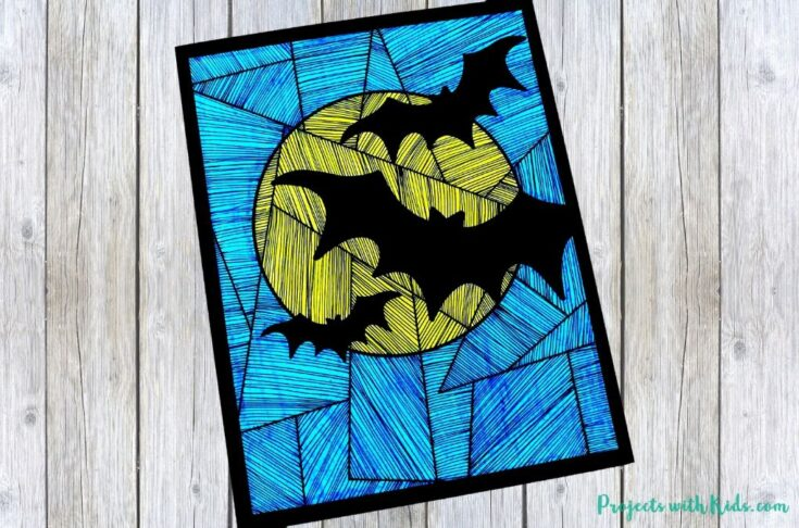 Easy Bat Art Project with Printable