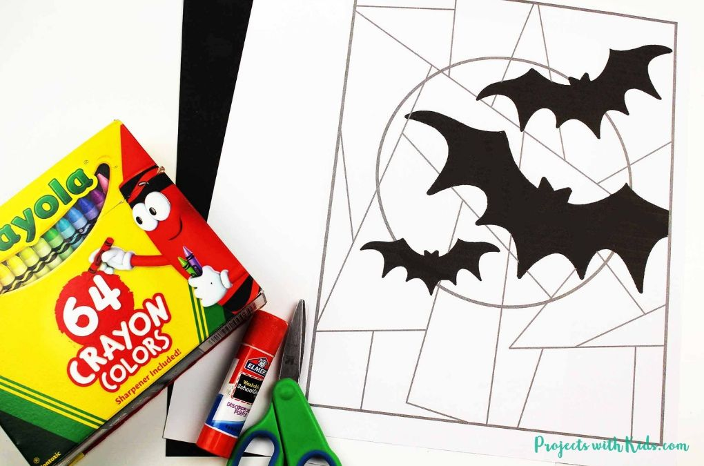 Bat printable, crayons, marker, glue stick, scissors.