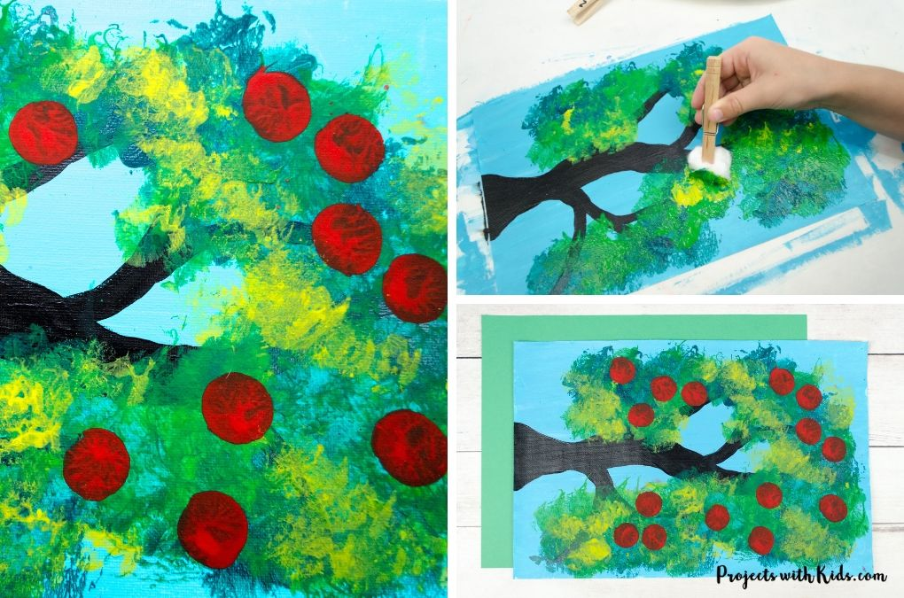 Apple tree craft, hand painting green leaves with a cotton ball on a clothespin