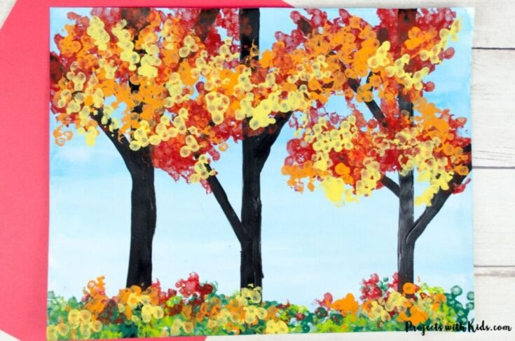 Fall Tree Painting with Bundled Q-tips