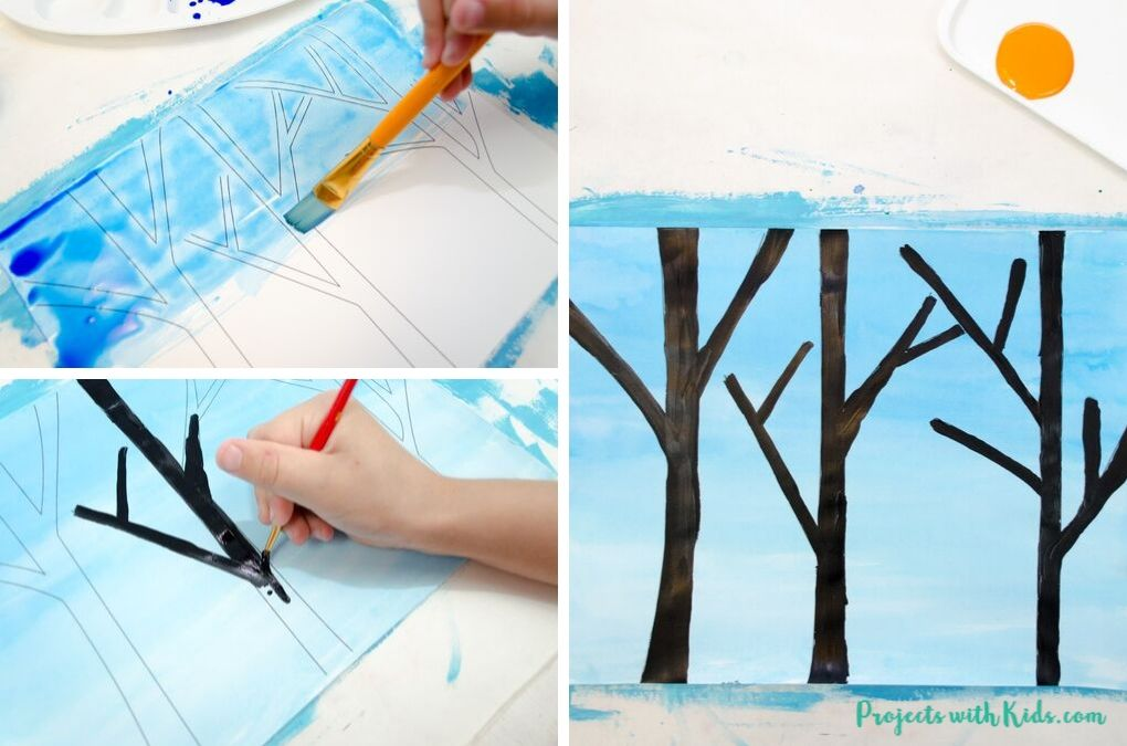 Painting a sky blue and tree branches black.