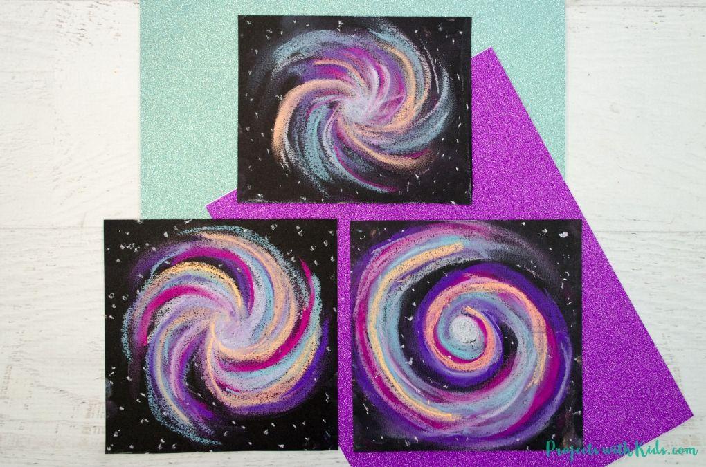 Galaxy chalk pastel art project