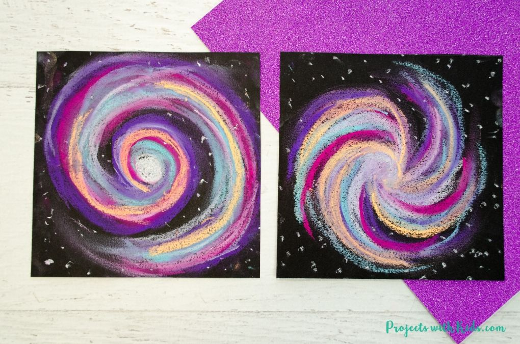 Finished image or galaxy chalk pastel craft