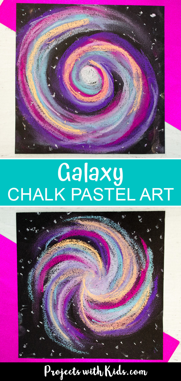 Galaxy art with chalk pastels Pinterest image