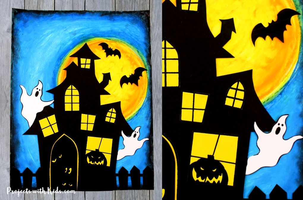 Finished image of a haunted house craft with paper and oil pastels.