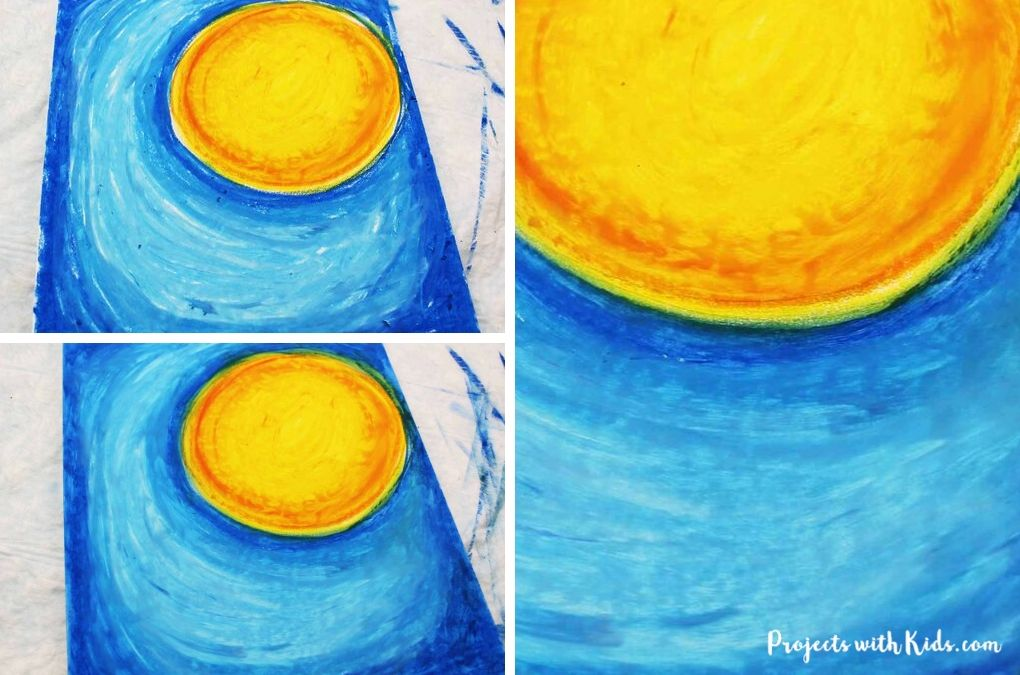 Oil pastel drawing with an orange and yellow full moon and blue background.