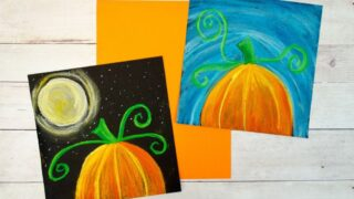 Pumpkin Chalk Pastel Art Project - 2 ways