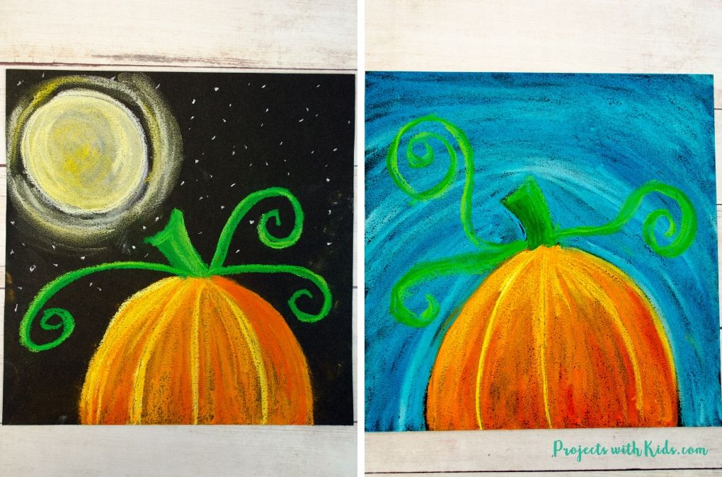 Pumpkin chalk pastel art - 2 ways. One with a bright blue sky background, 1 with a full moon and starry sky.