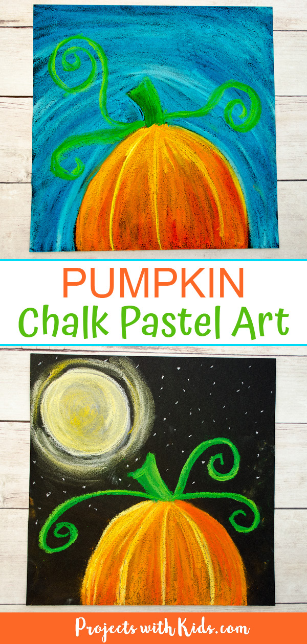 Pumpkin chalk pastel art - 2 ways: One with a blue sky and one with a full moon.