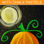 Halloween pumpkin art project using chalk pastels