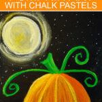 Halloween pumpkin art project using chalk pastels