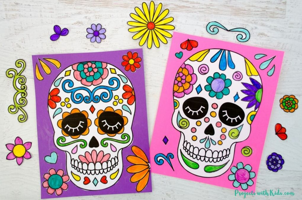 Easy Paper Sugar Skull Craft Projects With Kids