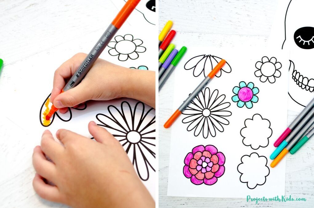 Coloring a printable with markers