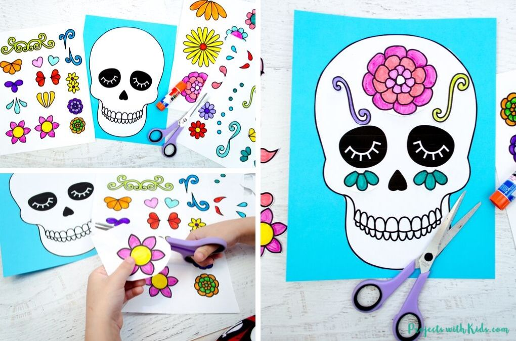 Cutting and gluing decorations to make a sugar skull craft.