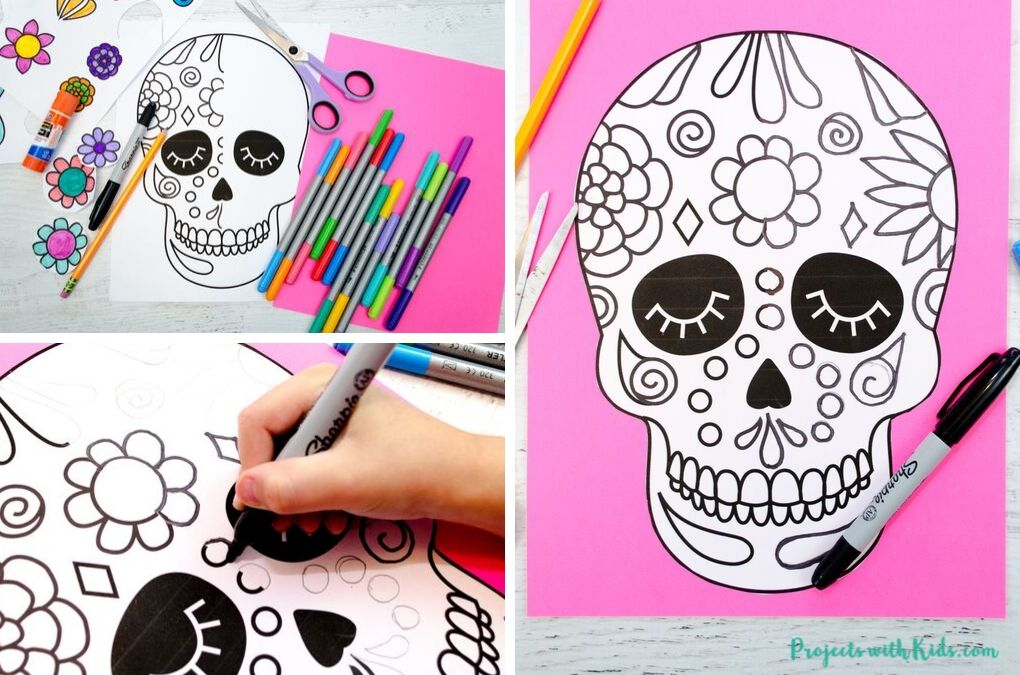 Drawing designs on a sugar skull craft