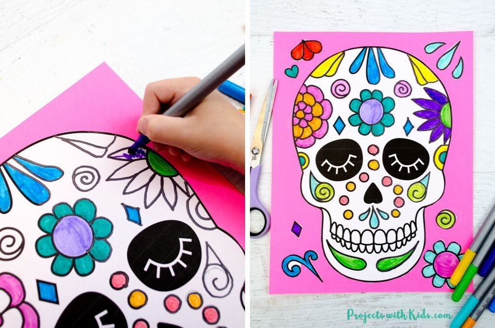 Coloring a sugar skull printable with markers.
