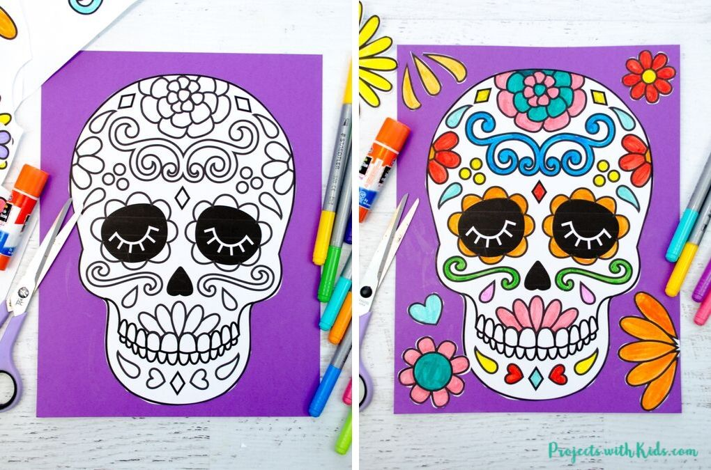 Sugar skull printable glued to purple cardstock and colored with markers.