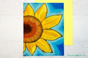 Glue and chalk pastel sunflower art for kids