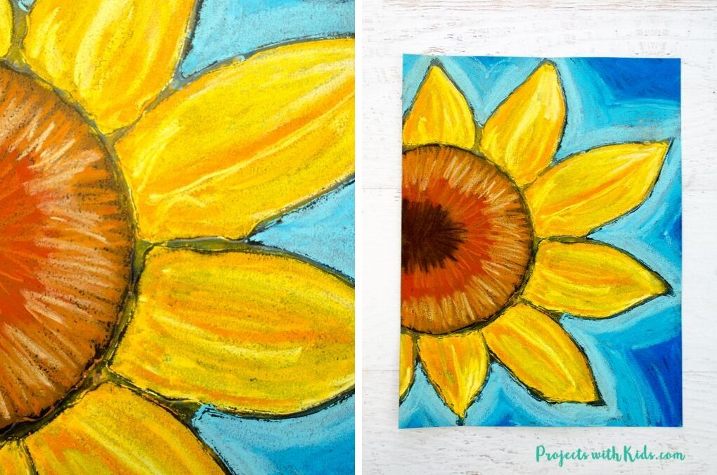 Chalk pastel sunflower art project for kids