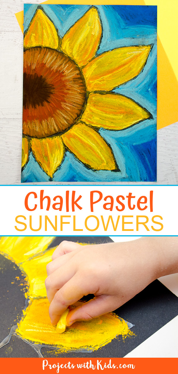 Chalk pastel sunflowers art project for kids