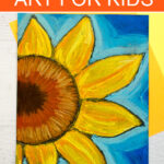Sunflower art project for kids using chalk pastels and glue.