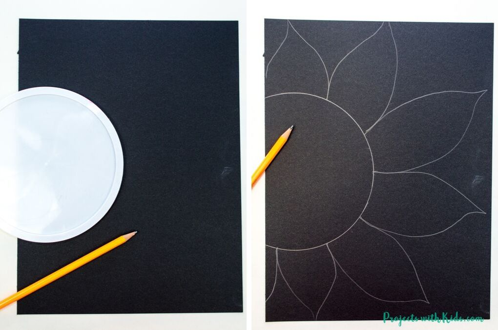 Drawing a sunflower on black paper