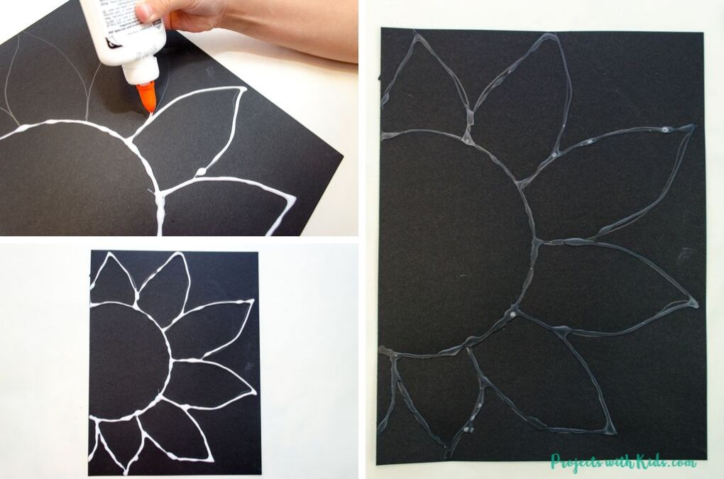 Tracing a sunflower drawing with white glue.