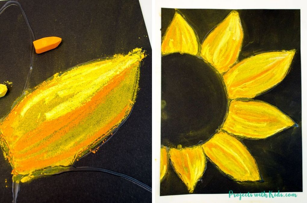 Orange and yellow sunflower petals on black pastel paper