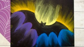 Spooky Bat Chalk Pastel Art Project for Kids